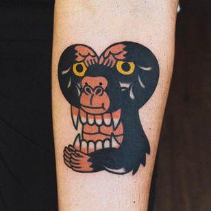 Two in One Ape Tattoo by Woo @Woo_Tattooer #WooTattooer #Seoul #Korea #TwoinOneTattoo #OpticalIllusion #OpticalIllusionTattoo #Ape #monkey