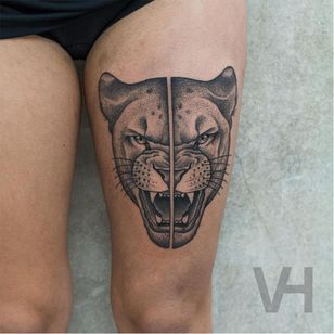 Split lioness tattoo by Valentin Hirsch #lioness #lion #split #dotwork #ValentinHirsch