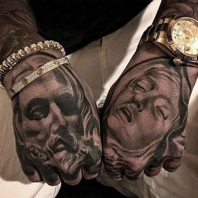 Hand jammers by Lilbtattoo #Lilbtattoo #blackandgrey #jesus #virginmary #tattoooftheday
