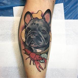 Dog tattoo by Julia Szewczykowska #JuliaSzewczykowska #dog #neotraditional #lobster