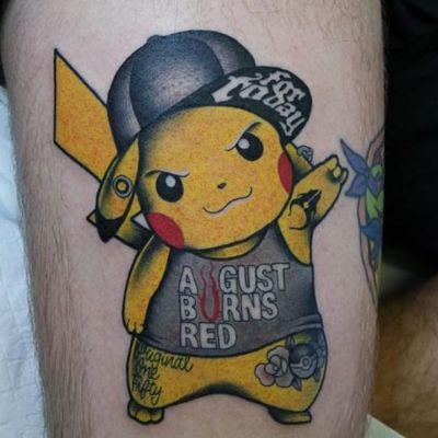Badass Pikachu Tattoo by Mat Schultz #pikachu #pokemon #pokemongo #pokemonart #MatSchultz