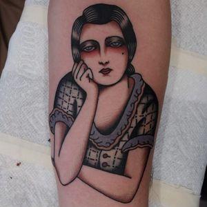 Lonely lady tattoo by Ivan Antonyshev #IvanAntonyshev #ladytattoos #color #traditional #portrait #lady #sad #lonely #1930s #1920s #vintage #dress #pattern