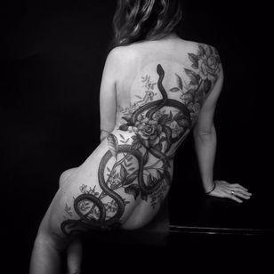 Snake tattoo by Matthew Talley #MatthewTalley #blackandgrey #nature #snake #flower