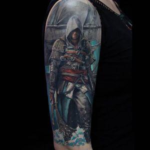 A color realism piece by the talented Mihail Storochzenko. (Via IG - mihail_storochzenko) #gamers #videogames #AssassinsCreed #AssassinsCreedTattoo #AssassinsCreedTattoos