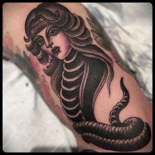 Snake Lady Tattoo by Marie Sena #Mariesena #Electriceye #Dallas #Texas #Black #Traditional #Lady #Girl #Snake #blackwork