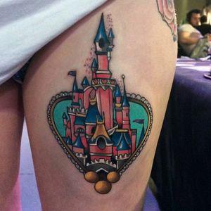 Disneyland tattoo by Jordan Baker. #disney #disneyland #castle #waltdisney #JordanBaker