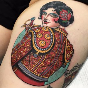 The Lady Matador by Xam the Spaniard #XamtheSpaniard #traditional  #neotraditional #matador #pearls #portrait #rose #sword #lady #pinup #color #tattoooftheday