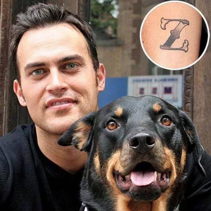 Cheyenne Jackson's tattoo dedicated to his late pup. #celebrities #pets #cheyennejackson