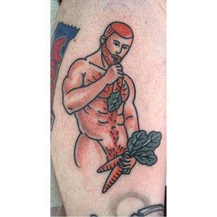 Big boy pin up tattoo by Jamie August. #JamieAugust #pinup #bigboypinup #man #pinupman #ginger #redhead #trad #traditional #traditionalamerican