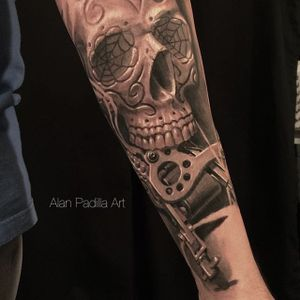 Alan Padilla (IG—alanpadillaart) #AlanPadilla #blackandgrey #largescale #realism #soft #sugarskull #tattoomachine