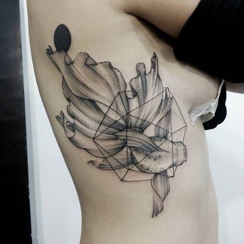 Fish tattoo by Norako #Norako #dotwork #nature #fish #geometric