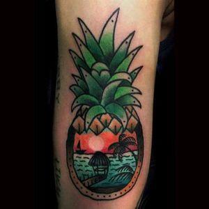 Pineapple landscape tattoo by Vasso. #fruit #pineapple #sunset #landscape #beach #Vasso