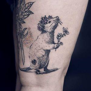 Cute rat tattoo by Kalawa #Kalawa #dotwork #blackwork #rat