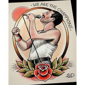 Freddie Mercury flash painting by Quyen Dinh. #QuyenDinh #parlortattooprint #flash #tattooflash #paintings #flashpaintings #traditional #popculture #artist #singer #freddiemercury #icon #musician #FlashFriday