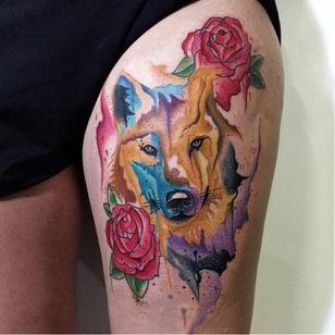 #ArthurOliveira #watercolor #aquarela #tatuadoresdobrasil #brasil #brazil #colorido #colorful #flor #flower #rose #rosa #lobo #wolf