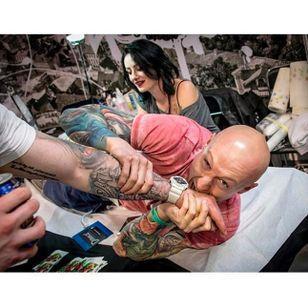 Photo by Kera Kerson of tattooist Kasia Werberg at work, taken from Instagram @tattoofestconvention #Krakow #TattooFest #Poland #KasiaWerberg