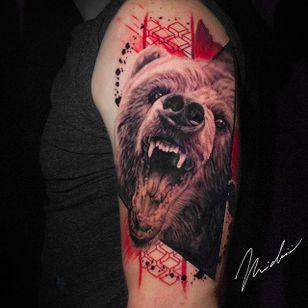 Bear tattoo by Michael Cloutier @cloutiermichael #Michaelcloutier #blackandgray #blackandgrey #blackandred #black #red #trashpolka #realism #bear