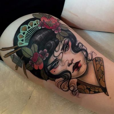 Gorgeous geisha gal by Hannah Flowers #hannahflowers #neotraditional #color #lady #portrait #geisha #japanese #cherryblossom #kimono #pattern #leaves #tattoooftheday