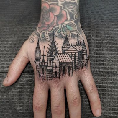 Small cityscape by Antoine Gaumont #antoinegaumont #blackwork #blackandgrey #linework #dotwork #castles #spires #architecture #buildings #towers #landscape #cityscape #tattoooftheday
