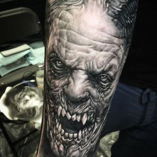 Scary one via @seunghyunjotattoos #horror #blackandgrey #realism
