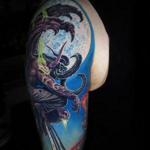 A portion of Jamie Schene's (IG—jamie_schene) awesome Warcraft sleeve featuring Illidan Stormrage. #Blizzard #IllidanStormrage #JamieSchene #Warcraft