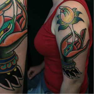 Mudra hand tattoo by Imrich Kovacs #ImrichKovacs #traditional #mudra #hand #lotus #india