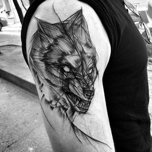 Wolf Sketch Tattoo by Inez Janiak #wolf #wolftattoo #wolfsketchtattoo #sketch #sketchtattoo #sketchtattoos #blackwork #blackworktatoo #blackworksketch #graphicsketch #graphicblackwork #darktattoo #darkartists #InezJaniak