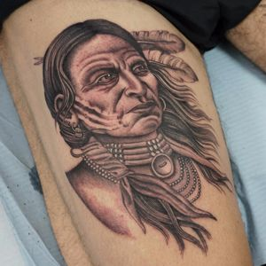 Nothing says strength like this warrior by Ruby May Quilter #rubymayquilter #blackandgrey #oldschool #illustrative #portrait #feathers #jewelry #beads #warrior #NativeAmerican #tattoooftheday