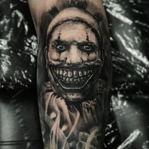 A portrait of Twisty the Clown from American Horror Story by Danny Lepore (IG—dannylepore). #AmericanHorrorStory #blackandgrey #DannyLepore #horror #realism #TwistytheClown