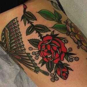 Red Rose filler Tattoo by Ivan Antonyshev #IvanAntonyshev #traditionalrose #Traditional #Rose #Mainstaytattoo #Austin