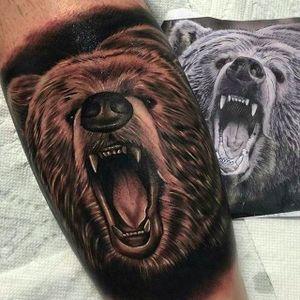Wild and Ghastly Black and Gray Bear Tattoo #Bear #BearTattoo #Realistic #Blackandgray