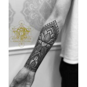 Intricate Lotus design by @kirknilsentattoos #kirknilsen #ornamental #blacktattoos