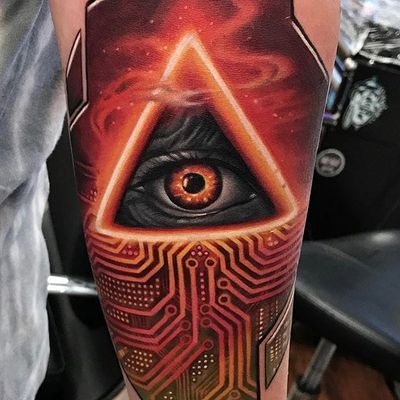 Awesome piece by Kyle Cotterman #KyleCotterman #color #eye #circuit #tattoooftheday