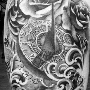 Roses and sun dial tattoo by Karlee Sabrina. #realism #blackandgrey #sundial #rose #filigree #KarleeSabrina