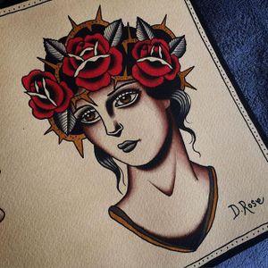 Crown of Roses by Danielle Rose (via IG-daniellerosetattoo) #flashart #ladyheads #somber #flower #thorns #traditional #daniellerose