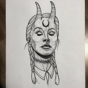 Demon by Daniel Teixeria (via IG-daniel_kickflip_tattooer) #surreal #dark #linework #flash #flashfriday #DanielTeixeira