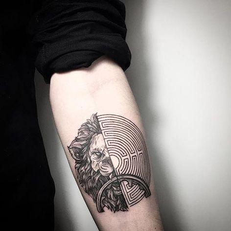 Nemean Lion and the Minotaur's labyrinth tattoo by Lesya Kovalchuk. #LesyaKovalchuk #blackwork #mythology #greek #labyrinth #lion
