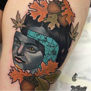Creative tattoo by Piotr Gie #PiotrGie #graphic #surrealistic #surrealisticportrait #leaves #woman #face #surrealisticface