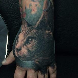 Sphinx cat tattoo by Florian Karg #Florian Karg #trashstyle #trashart #trash #trashpolka #realistic #dark #horror #graphic #sphinxcat #cat