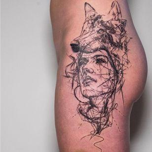 'Unrestraint' by Mowgli #mowgli #mowgliartist #blackwork #graphic #lines #artist #avantgarde #portrait #wolf #geometric #graphical #sketch #tattoos #hip #pattern #throughmythirdeye #fineart #portraittattoo