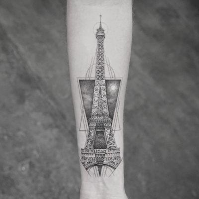 Eiffel Tower tattoo by Mr K #MrK #architecturetattoos #blackandgrey #linework #fineline #EiffelTower #Paris #France #building #tower #moon #sky #shapes #dotwork #tattoooftheday