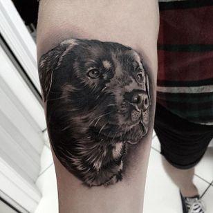 Black and grey realism rottweiler by Rodrigo Silva. #blackandgrey #realism #dog #petportrait #rottweiler #RodrigoSilva