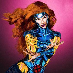 OMG, awesome Rogue by Kay Pike (IG—kaypikefashion). #bodypainting #ComicCon #KayPike #Marvel #Rogue #Xmen