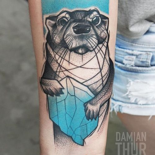 Graphic otter tattoo by Damian Thur. #graphic #illustrative #blackwork #otter #DamianThur
