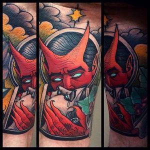 Devil Tattoo by Bartosz Panas #devil #deviltattoo #neotraditional #neotraditionaltattoo #neotraditionalartist #polishtattoo #polishartist #BartoszPanas