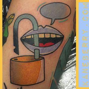 Free speech tattoo by Kane Berry. #traditional #abstract #graphic #KaneBerry #freespeech #speechbubble #padlock