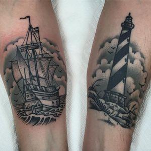 The light to guide the ships at sea. Tattoo by Tony Talbert. #TonyTalbert #tonytrustworthy #sailortattoos #blackandgrey #traditional #ocean #sea #ship #waves #lighthouse #sky #birds #landscape #seascape