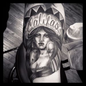 Chicano Girl Tattoo #ChicanoGirl #ChicanoTattoos #BlackandGrey #CaliforniaTattoos #FineLine #LatinAmerican #ChucoMoreno
