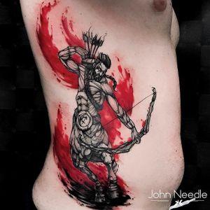 #JohnNeedle #brasil #brazil #brazilianartist #tatuadoresdobrasil #aquarela #watercolor #colorido #colorful #sagitario #sagitarius #homem #man #arrow #arcoeflecha #blackwork
