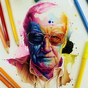 #stanlee #nerd #mito #comics #aquarela #watercolor #vareta #ilustradorvareta #coloridos #brasil #brazil #portugues #portuguese #desenhos #drawing